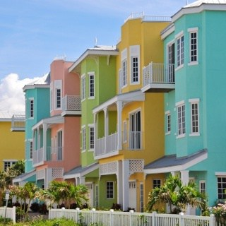 Colorful beach vacation rental homes