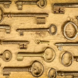 Old skeleton keys in rows