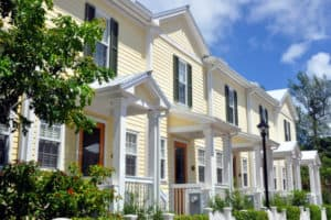 Yellow townhomes