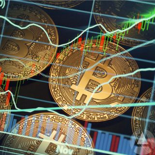 Abstract image of Bitcoin coins and the cryptocurrency market read and green market lines.