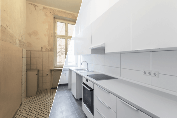 Before and after pictures of a kitchen renovation project